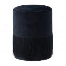 groothandel Klein meubilair: Fluwelen kruk met franjes, rond, zwart, hoogte ca.