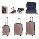 Juego de equipaje A033, 3 piezas de oro rosa