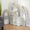 wholesale Decoration: Rowing boat shelf, set of 5, blue / white