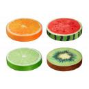 groothandel Kussens & Dekens: Zitkussen Fruit slice 4- maal geassorteerd , ron