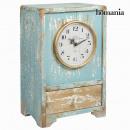 grossiste Maison et habitat: Horloge vintage en  bois bleue by Homania