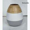 grossiste Pots de fleurs & Vases: Vase bambou gris blanc by Homania