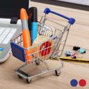 Großhandel Taschen & Reiseartikel: Mini-Einkaufswagen  aus Metall (Farbe: Blau)