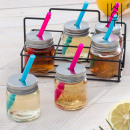 Wagon Trend Shot Glasses with Lids, Straws and Met