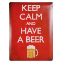 Insegna metallica Keep Calm and Have a Beer 30 x 4