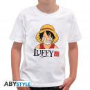 grossiste Vetements enfant et bebe: ONE PIECE - Tshirt Luffy Head enfants SS blanc -