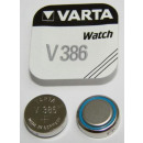 V 386 (Typical capacity: 105mAh), button cell