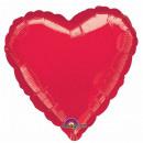 Standard 'Rot Metallic' Folienballon Herz, verpack