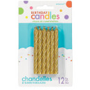 12 spiral candles 5.3 cm gold