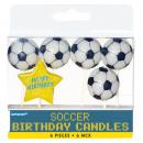 6 mini-figuur kaarsen Championship Soccer 7.6 cm