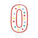 Zahlenkerzen Geburtstag 0 Weiß & Punkte