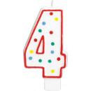 Zahlenkerzen Geburtstag 4 Weiß & Punkte