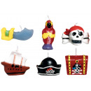 6 mini-kaarsen Pirates Treasure 3 cm