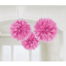 3 Puszyste kulki w stylu deco różowe 40,6 cm