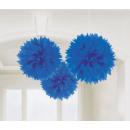 3 Puszyste kulki deko royal blue 40,6 cm