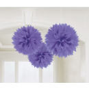 3 Puszyste kulki deko fioletowe 40,6 cm