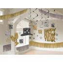 Decoratie set Happy New Year zwart / goud / zilver