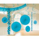 Deco-set azuurblauw 18-delig