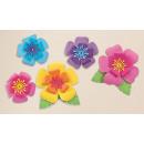 5 floral decorations hibiscus paper