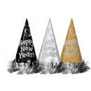 12 czapeczek Party Happy New Year Metalic Black Sy