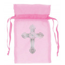 12 organza bags with cross pink 8.8 cm
