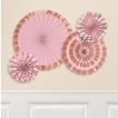 grossiste Jouets: 4 Ventilateurs décoratifs en papier peint estampé