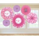 6 papier decoratie fans Shower With love - Meisje