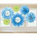 6 papier decoratie fans Shower With love - Jongen