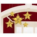 5 ophangdecoraties Metaalsterren Glitz & Glam