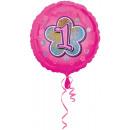 Standard Rosa Blumen 1 Folienballon verpackt 43 cm