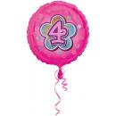 Standard rózsaszín virágok 4 fóliás ballon, 43 cm-