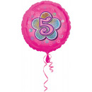 Standard Rosa Blumen 5 Folienballon verpackt 43 cm