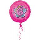 Standard Rosa Blumen 6 Folienballon verpackt 43 cm