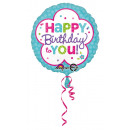 wholesale Food & Beverage: Standard Happy Birthday Blue and White Foil Balloo