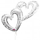 Multi Balloon Fused hearts silver Folienba