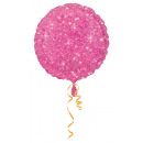 Standard Round Faux Sparkle Hot Pink Foil Balloon