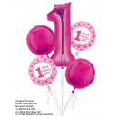 grossiste Articles de fête: Bouquet '1st Birthday Girl' 5 ballons, ver