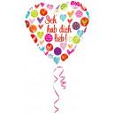 Szabványos Ich hab dich lieb Fólia ballon Kerek ve