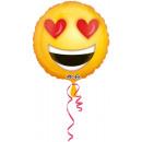 Standard in love emoticon Foil balloon, round, l