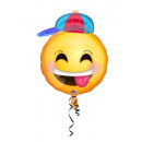 Junior Shape Emoticon with Hat Foil Balloon, Loose