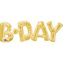SuperShape Wort 'Bday' Gold Folienballon verpackt