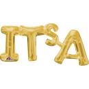 SuperShape Word 'It's A' Gold Foil Bal
