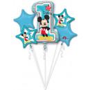 Bouquet ' Mickey 1st Birthday' 5 foil ball