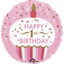 Standard '1st Birthday Cupcake - Mädchen' Folienba
