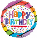 Standard ' Happy Birthday - Colorful striped b