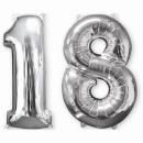 Großhandel Geschenkartikel & Papeterie: 26' 2er-Pack 'Silber-18', 2 Folienballons, ...