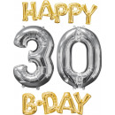 wholesale Food & Beverage: Balloon Bunch 'Happy Bday 3-0 Gold / Silver&#3