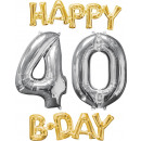 wholesale Food & Beverage: Balloon Bunch 'Happy Bday 4-0 Gold / Silver&#3