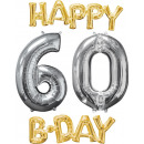 wholesale Food & Beverage: Balloon Bunch 'Happy Bday 6-0 Gold / Silver&#3
