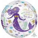 Orbz Foil Balloon Souhaits de sirène emballés